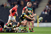 Nic Groom of Northampton Saints passes the ball. Aviva Premiership match, between Northampton Saints and Saracens on April 16, 2017 at Stadium mk in Milton Keynes, England. Photo by: Patrick Khachfe / JMP