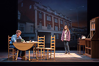 Starring: Chris Wilbur '21; Milan Khali '19<br /> Photo from the dress rehearsal of the Occidental College Department of Theater presentation of Country Music, written by Simon Stephens and directed by John Bouchard, Nov. 29, 2017 in Keck Theater. The action takes place in Thurrock, Essex; Her Majesty's Prison, Grendon, Buckinghamshire; and Durham Road, Sunderland, between 1983 and 2004.<br /> (Photo by Marc Campos, Occidental College Photographer)