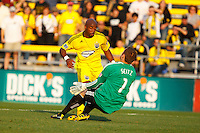 24 OCTOBER 2010:  Philadelphia Union goalkeeper Chris Seitz (1) makes a save against Columbus Crew forward Emilio Renteria (20) during MLS soccer game at Crew Stadium in Columbus, Ohio on August 28, 2010.