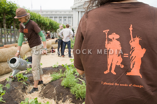 "Community Planting Day (July 12, 2008) of the Slow Food Nation Victory Garden at San Francisco's Civic Center. The garden project ""demonstrates the potential of a truly local agriculture practice that unites and promotes Bay Area urban gardening organizations, while producing high quality food for those in need.""* The garden is planted on the same site as the post-World War II garden sixty years ago. The food will be grown over a period of two months, harvested, and donated to people in need..*slowfoodnation.org"