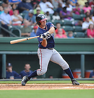 Catcher Cory Brownsten (30) of the Rome Braves, an Atlanta Braves affiliate, in a game against the Greenville Drive on August 13, 2012, at Fluor Field at the West End in Greenville, South Carolina. Rome won, 3-2. (Tom Priddy/Four Seam Images)