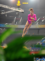 Aug. 7, 2008; Beijing, CHINA; Bridget Sloan (USA) performs on the vault during womens gymnastics training prior to the Olympics at the National Indoor Stadium. Mandatory Credit: Mark J. Rebilas-