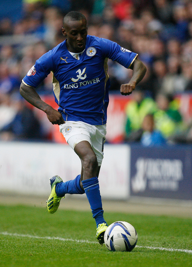 Leicester City's Lloyd Dyer in action during todays match  <br /> <br /> Photo by Jack Phillips/CameraSport<br /> <br /> Football - The Football League Sky Bet Championship - Leicester City v Bournemouth - Saturday 26th October 2013 - King Power Stadium - Leicester<br /> <br /> &copy; CameraSport - 43 Linden Ave. Countesthorpe. Leicester. England. LE8 5PG - Tel: +44 (0) 116 277 4147 - admin@camerasport.com - www.camerasport.com