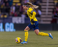 COLUMBUS, OH - NOVEMBER 07: Kosovare Asllani #9 of Sweden dribbles during a game between Sweden and USWNT at Mapfre Stadium on November 07, 2019 in Columbus, Ohio.