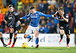 St Johnstone v Kilmarnock...07.11.15  SPFL  McDiarmid Park, Perth<br /> Michael O'Halloran gets between Craig Slater and Steven Smith<br /> Picture by Graeme Hart.<br /> Copyright Perthshire Picture Agency<br /> Tel: 01738 623350  Mobile: 07990 594431