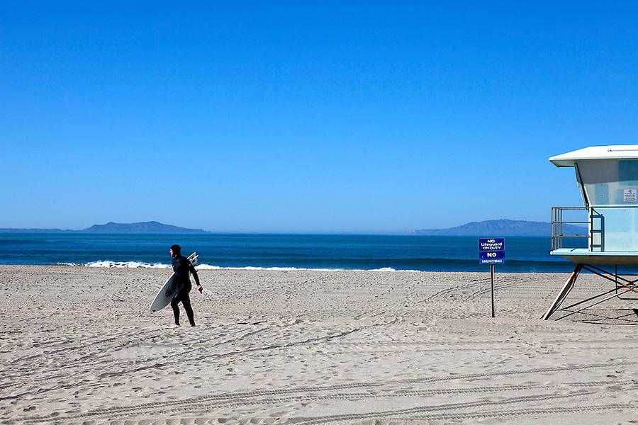 Surfer on Hollywood Beach, Oxnard, California