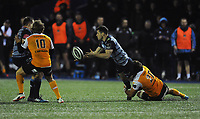 Cardiff Blues&rsquo; Tomos Williams is tackled by Toyota Cheetahs&rsquo; Henco Venter<br /> <br /> Photographer Kevin Barnes/CameraSport<br /> <br /> Guinness Pro14  Round 14 - Cardiff Blues v Toyota Cheetahs - Saturday 10th February 2018 - Cardiff Arms Park - Cardiff<br /> <br /> World Copyright &copy; 2018 CameraSport. All rights reserved. 43 Linden Ave. Countesthorpe. Leicester. England. LE8 5PG - Tel: +44 (0) 116 277 4147 - admin@camerasport.com - www.camerasport.com