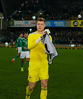 16th November 2019; Windsor Park, Belfast, Antrim County, Northern Ireland; European Championships 2020 Qualifier, Northern Ireland versus Netherlands; Bailey Peacock-Farrell of Northern Ireland leaves the pitch after the full time whistle - Editorial Use