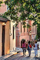 Walking in the streets of Plaka in Athens, Greece