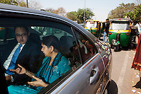 Ms. Geetam Tiwari, a Professor for Transport Planning in the IIT Delhi is interviewed by journalist Sean McLain on urban mobility issues and the balance between road safety and mobility in urban planning during a shared ride in a Mercedes-Benz C200 through Delhi from Ms. Tiwari's office in the IIT Delhi campus to the Indira Gandhi International Airport in Delhi, India on 30th March 2012. Photo by Suzanne Lee for Daimler TECHNICITY Magazine