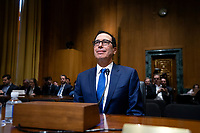 United States Secretary of the Treasury Steven T. Mnuchin arrives to testify before the U.S. Senate Committee on Finance regarding the budget for fiscal year 2021 at the United States Capitol in Washington D.C., U.S. on Wednesday, February 12, 2020.  <br /> <br /> Credit: Stefani Reynolds / CNP/AdMedia
