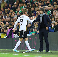 Timo Werner (Deutschland Germany) bei der Auswechslung mit Bundestrainer Joachim Loew (Deutschland Germany) - 09.09.2019: Nordirland vs. Deutschland, Windsor Park Belfast, EM-Qualifikation DISCLAIMER: DFB regulations prohibit any use of photographs as image sequences and/or quasi-video.