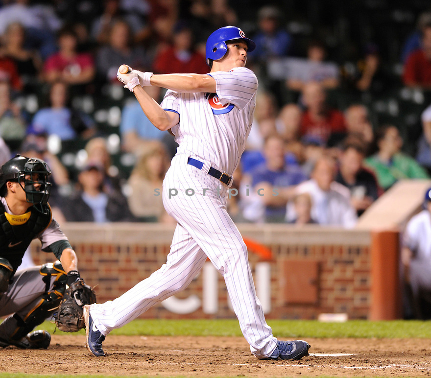 TYLER COLVIN,  of the Chicago Cubs  in action  during the Cubs game against the  Oakland A's .  The A's beat the Cubs 10-2 in Chicago, Illinois on June 15, 2010...DAVID DUROCHIK / SPORTPICS