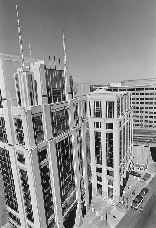 """American Psychiatric Association building with spires, a small """"New York City"""" in April 1997. (Photo by Laura Patterson/CQ Roll Call via Getty Images)"""