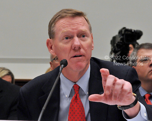 """Washington, DC - December 5, 2008 -- Alan Mulally, President and Chief Executive Officer, Ford Motor Company, testifies before the United States House Financial Services Committee hearing """"On review of industry plans to stabilize the financial condition of the American automobile industry""""  in Washington, D.C. on Friday, December 5, 2008.  He was there with other automotive industry leaders to request $35 billion in loans from Congress to insure their company's survival..Credit: Ron Sachs / CNP"""