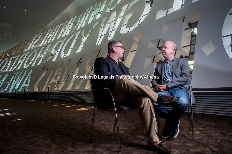 Tuesday 09 August 2016<br /> Pictured: Brothers Huw (R) and Paul Watkins (L)<br /> Re:  Cellist and Conductors Huw and Paul Watkins at the Wales Millennium Centre in Cardiff Bay, Wales, UK.