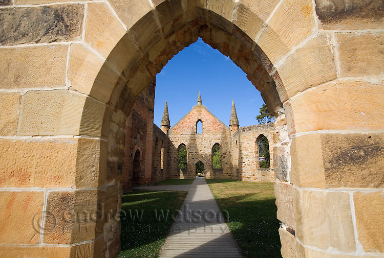 Looking into the ruins of the Church at the Port Arthur Historic Site.  Constructed in 1836-37 the church was never consecrated, due to its usage by different denominations.  Port Arthur, Tasmania, Australia