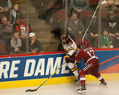Willie Raskob (UMD - 15), Sean Malone (Harvard - 17) - The University of Minnesota Duluth Bulldogs defeated the Harvard University Crimson 2-1 in their Frozen Four semi-final on April 6, 2017, at the United Center in Chicago, Illinois.