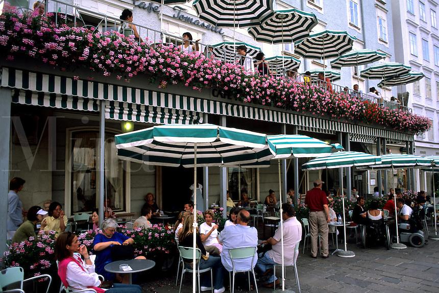Restaurant scene in the old town of Vienna Austria