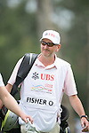 Oliver Fisher's caddie walks during Hong Kong Open golf tournament at the Fanling golf course on 25 October 2015 in Hong Kong, China. Photo by Aitor Alcade / Power Sport Images