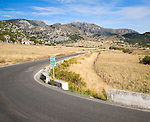Corner of quiet rural road in Sierra de Grazalema natural park, Cadiz province, Spain
