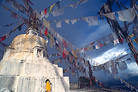 Tibetan prayer flags on Nagarjun hill.