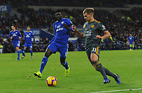 Leicester City's Marc Albrighton under pressure from Cardiff City's Bruno Ecuele Manga<br /> <br /> Photographer Kevin Barnes/CameraSport<br /> <br /> The Premier League -  Cardiff City v Leicester City - Saturday 3rd November 2018 - Cardiff City Stadium - Cardiff<br /> <br /> World Copyright © 2018 CameraSport. All rights reserved. 43 Linden Ave. Countesthorpe. Leicester. England. LE8 5PG - Tel: +44 (0) 116 277 4147 - admin@camerasport.com - www.camerasport.com