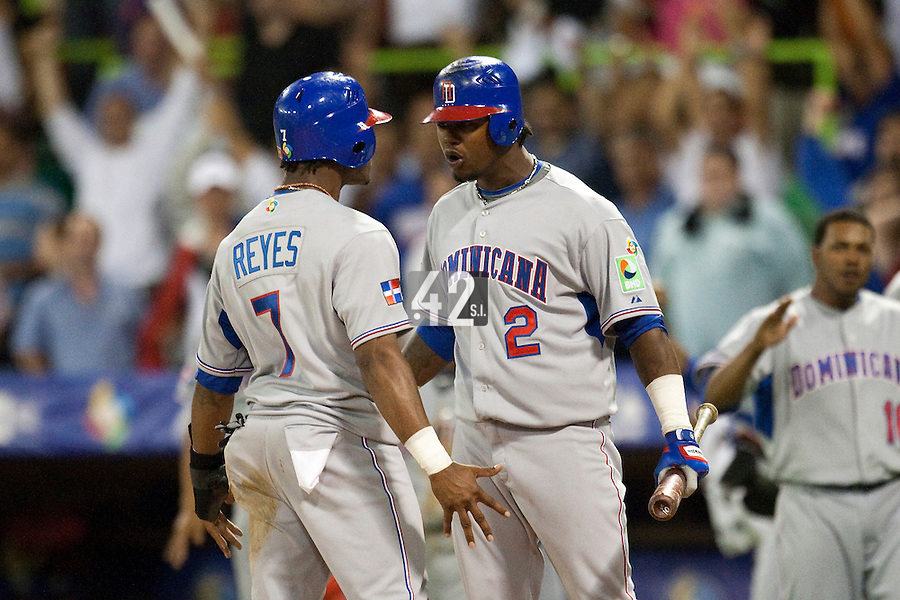 10 March 2009: #7 Jose Reyes celebrate with #2 Hanley Ramirez of the Dominican Republic after Jose Reyes scores a run in the eleventh inning breaking a 0-0 tie against the Netherlands during the 2009 World Baseball Classic Pool D game 5 at Hiram Bithorn Stadium in San Juan, Puerto Rico. The Netherlands pulled off second upset to advance to the secound round. The Netherlands come from behind in the bottom of the 11th inning and beat the Dominican Republic, 2-1.