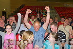 Brendan Cronin celebrates after being elected at the Kerry County Council Killarney area election count in the Aura Sports Centre in Killarney on Saturday