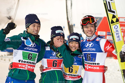 (L-R) Daiki Ito, Yuki Ito, Sara Takanashi, Taku Takeuchi,  (JPN), .FEBRUARY 24, 2013 - Ski Jumping : .Japan mixed team celebrate after winning FIS Nordic World Ski Championship 2013, Ski Jumping Normal Hill Mixed Team, Ski Jumping Stadium Predazzo, Val di Fiemme, Italy, (Photo by Enrico Calderoni/AFLO SPORT)