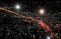 Nov. 8, 2009; Fort Worth, TX, USA; NASCAR Sprint Cup Series fans sit in traffic in the parking lot following the Dickies 500 at the Texas Motor Speedway. Mandatory Credit: Mark J. Rebilas-