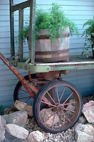 Decorative old west wagon planter.  Minnetonka Minnesota USA