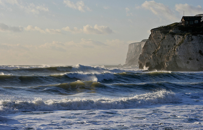 Winter waves pound the Isle of Wight on England's south coast