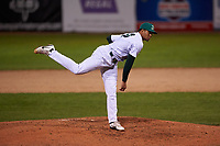 Beloit Snappers relief pitcher Jaimito Lebron (20) during a Midwest League game against the Lake County Captains at Pohlman Field on May 6, 2019 in Beloit, Wisconsin. Lake County defeated Beloit 9-1. (Zachary Lucy/Four Seam Images)