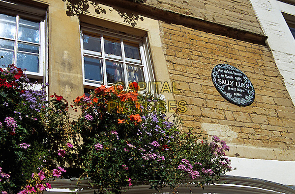 Sally Lunn's House sign, windows and window boxes, oldest house in Bath, 1482, Bath, Somerset, England