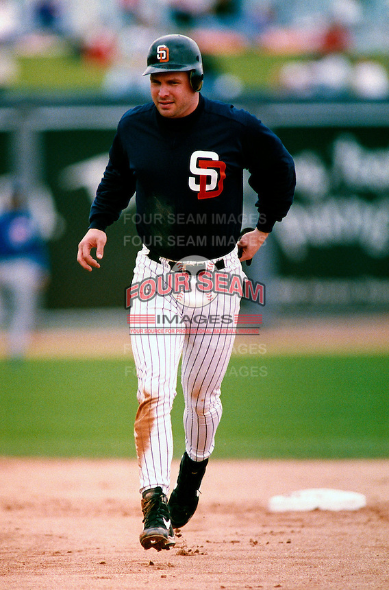 Musician Garth Brooks participates in a Major League Baseball Spring Training game with the San Diego Padres during the 1998 season in Phoenix, Arizona. (Larry Goren/Four Seam Images)