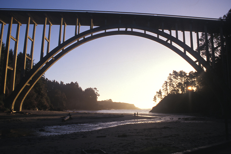 The Russian Gulch Bridge at sunset, Mendocino California