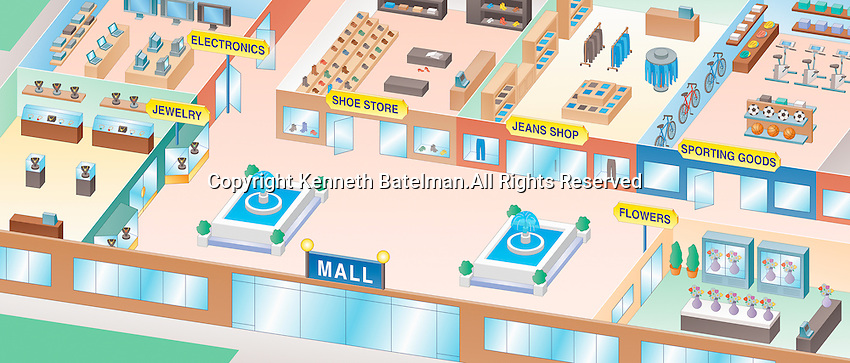 High angle view of different shops in empty shopping mall