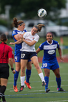 Boston Breakers defender Cat Whitehill (4) and Sky Blue FC midfielder Katy Frierson (17) leap to head the ball.  In a National Women's Soccer League Elite (NWSL) match, Sky Blue FC defeated the Boston Breakers, 3-2, at Dilboy Stadium on June 16, 2013