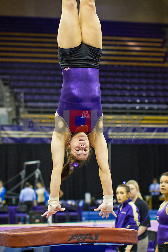 Megan Whitney..Washington Huskies gymnastics vs. the UCLA Bruins at Alaska Airlines Arena at Hec Edmundson Pavilion in Seattle on Friday, January 27, 2012. (Photo by Dan DeLong/Red Box Pictures)