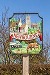 Close-up of village sign Newbourne, Suffolk, England, UK