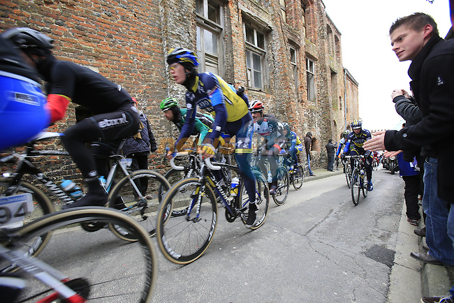 Riders climb Casselberg for the 2nd time passing through the old town of Cassel during the 75th edition of Gent-Wevelgem, France, 24th  March 2013 (Photo by Eoin Clarke 2013)