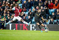 12th January 2020; Villa Park, Birmingham, Midlands, England; English Premier League Football, Aston Villa versus Manchester City; Riyad Mahrez of Manchester City crosses the ball and Marvelous Nakamba of Aston Villa tries to block - Strictly Editorial Use Only. No use with unauthorized audio, video, data, fixture lists, club/league logos or 'live' services. Online in-match use limited to 120 images, no video emulation. No use in betting, games or single club/league/player publications