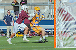 Costa Mesa, CA 03/08/14 - Brandon Malekie (LMU #26) and Kyle Sieglein (UCSB #27) in action during the MCLA Loyola Marymount vs UC Santa Barbara men's lacrosse game as part of the 2014 Pacific Shootout.  UCSB defeated LMU 12-7 at Le Bard Stadium.