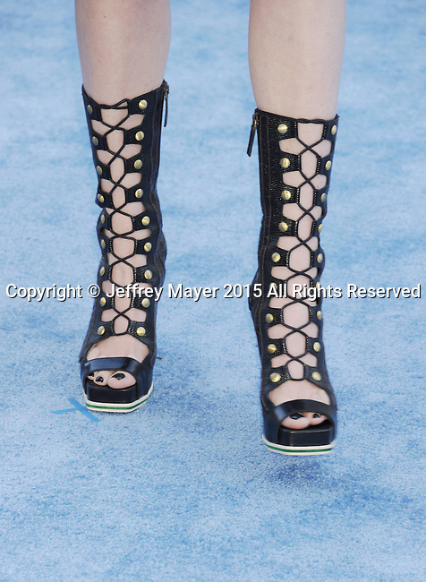 LOS ANGELES, CA - APRIL 12: Actress Hailee Steinfeld, shoe detail, at the 2015 MTV Movie Awards at Nokia Theatre L.A. Live on April 12, 2015 in Los Angeles, California.