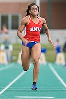 Stephanoe Kalu of SMU wins 100 Meter dash during Baylor Invitational track meet, Friday, April 03, 2015 in Waco, Tex. (Mo Khursheed/TFV Media via AP Images)