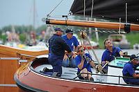 SKÛTSJESILEN: FRYSLÂN: SKS kampioenschap 2015, Skûtsje D'Halve Maen schipper Berend Mink, ©foto Martin de Jong