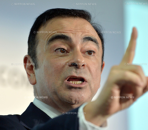 May 10, 2013, Yokohama, Japan - President Carlos Ghosn of Nissan Motor Co. gestures as he presents its annual net profit during a news conference at the head office in Yokohama, south of Tokyo, on Friday, May 10, 2013. Nissan reported the slowest annual profit growth among Japanese automakers as a Sino-Japanese political dispute backfired, hitting Japan's No. 2 automaker hard when Chinese consumer began to boycott Japanese products in September last year.  (Photo by Natsuki Sakai/AFLO)