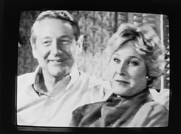 Rep. Hank Brown, R-Colo., with wife Nan broadcasted on television while campaigning on Jan. 12, 1990. (Photo by Laura Patterson/CQ Roll Call via Getty Images)