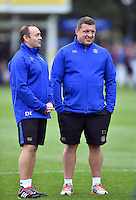 Bath Rugby first team coaches Darren Edwards and Toby Booth look on during the pre-match warm-up. Aviva Premiership match, between Bath Rugby and Exeter Chiefs on October 17, 2015 at the Recreation Ground in Bath, England. Photo by: Patrick Khachfe / Onside Images